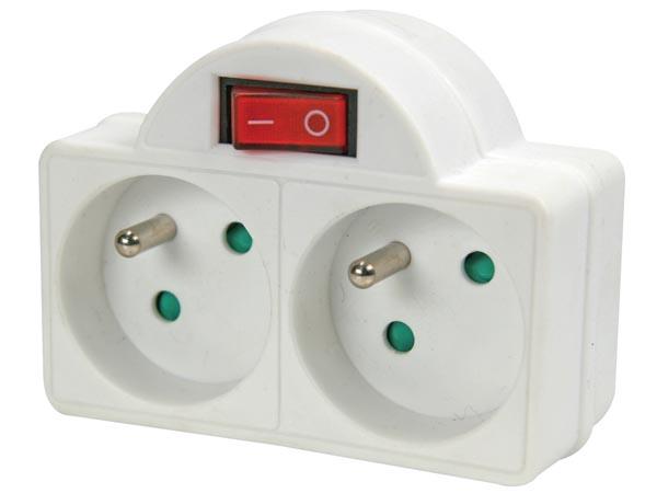 multiprises 2 prises avec interrupteur. Black Bedroom Furniture Sets. Home Design Ideas