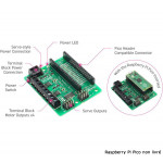 Détail des connecteurs de la platine robotique KITRONIK 5329 pour Raspberry Pi Pico