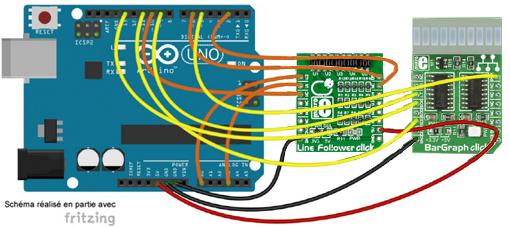 Schéma de câblage entre l'arduino et le module Line Folower Click