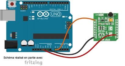 Schéma de câblage entre l'arduino et le module Click Board MIKROE-1377