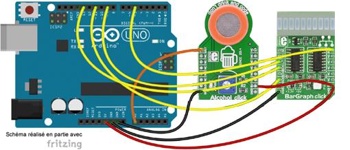 Schéma de câblage entre l'arduino et le module Alcohol Click Board