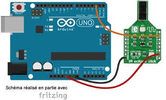 Schéma de câblage entre l'arduino et le module Click Board MIKROE-1711