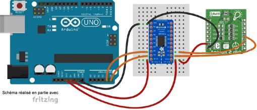 Schéma de câblage entre l'arduino et le module Click Board MIKROE-1903