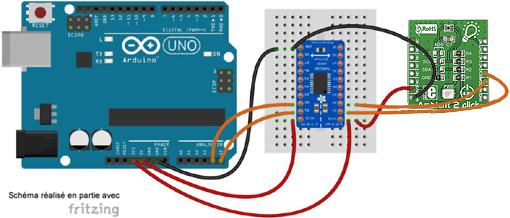 Schéma de câblage entre l'arduino et le module Color 2 Click Board