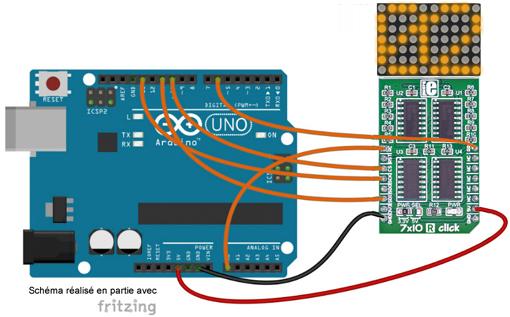 Schéma de câblage entre l'arduino et le module MIKROE-1993