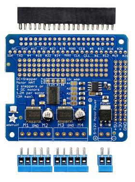 Platine Shield moteur Adafruit 2348 et ses connecteurs