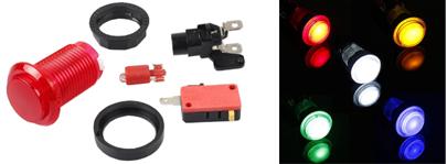 Le bouton arcade lumineux translucide existe en plusieurs couleurs