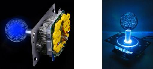 Représentation du joystick à boule translucide lumineuse pour arcade