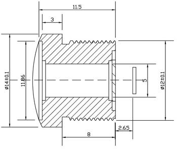 Dimensions de la lentille FishEye M30158M