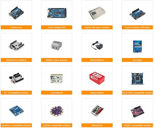 Platines Arduino et interfaces pour arduino