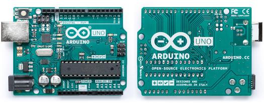 Vue de dessus et de dessous de la platine Arduino Uno (Rev 3)