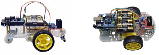 Vue détaillée du robot suiveur de ligne Cebek C-9875