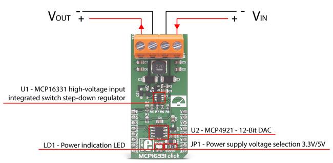 Détail du module MCP16331 click MIKROE-2762