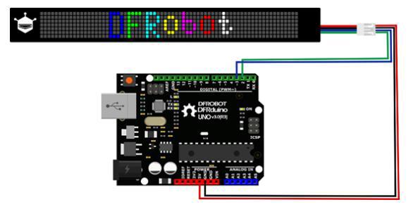 Raccordement de la matrice RGB flexible DFR0597 sur un Arduino ou compatible