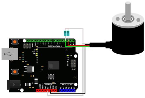 Raccordement avec résistances pull-up de l'encodeur rotatif SEN0230