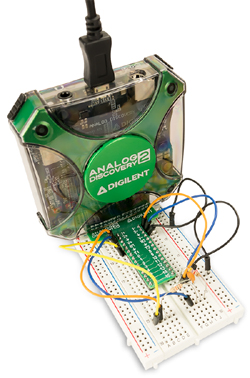 Exemple de raccordement du boitier Analog Discovery 2 sur une BreadBoard