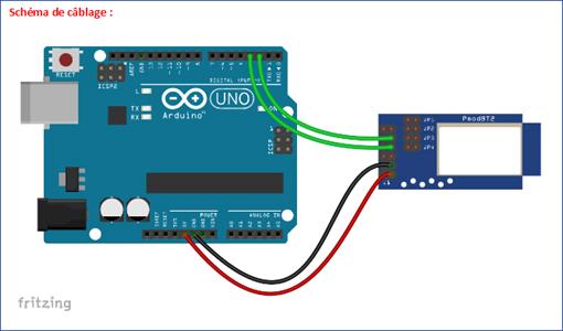 Brochage entre PMODBT2 et Arduino
