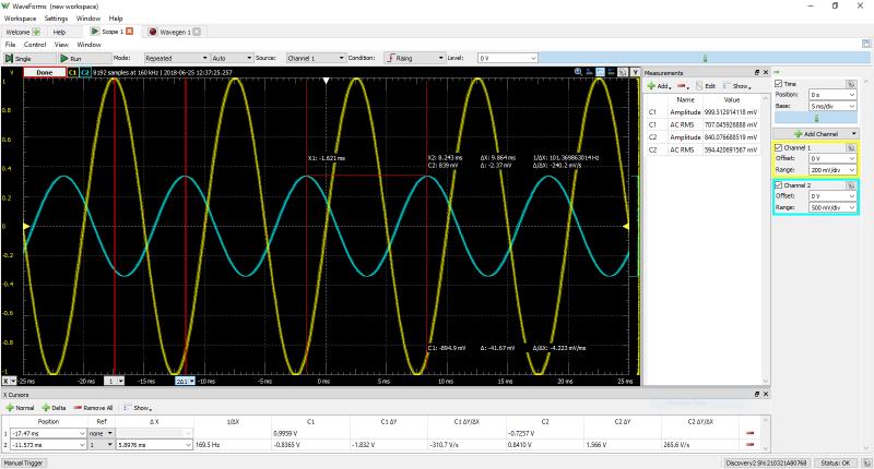 Fonction oscilloscope de l'Analog Discovery Studio