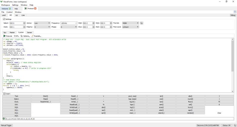 Fonction analyseur de protocoles de l'Analog Discovery Studio