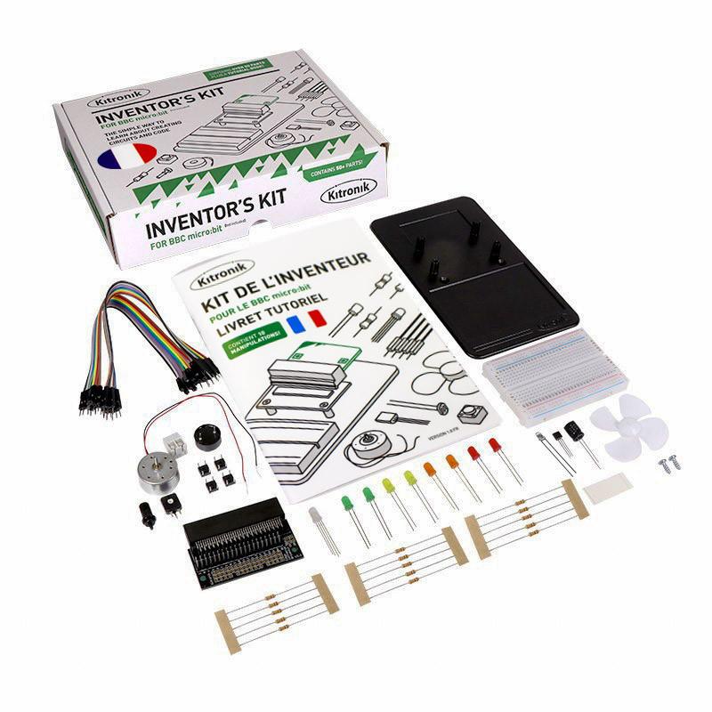 Détail du contenu de l'Inventor's kit Kitronik pour carte micro:bit