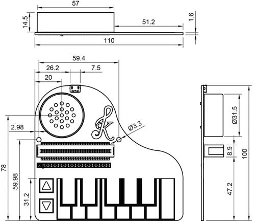 Dimensions de la platine Kitronik :KLEF Piano