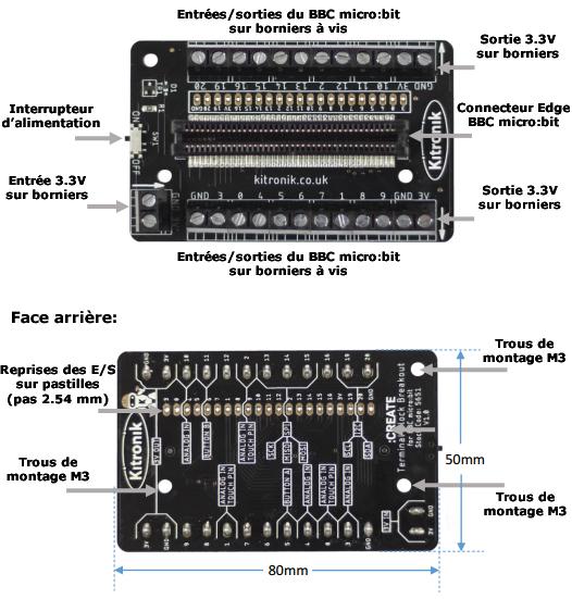 Détail de la platine bornier KITRO5651 pour micro:bit