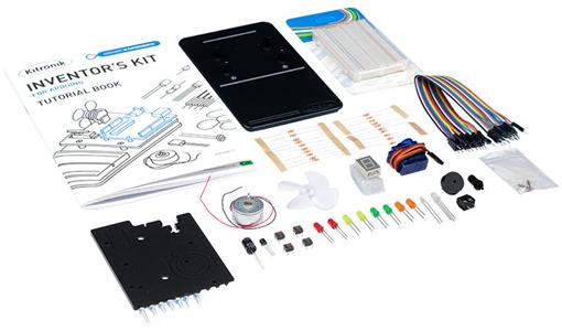 Détail du contenu de l'Inventor's kit Kitronik pour carte Arduino