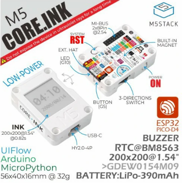 Détail du module M5Stack ESP32 Core Ink K048