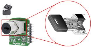 Détail de la serrure utilisée sur le module Keylock Click