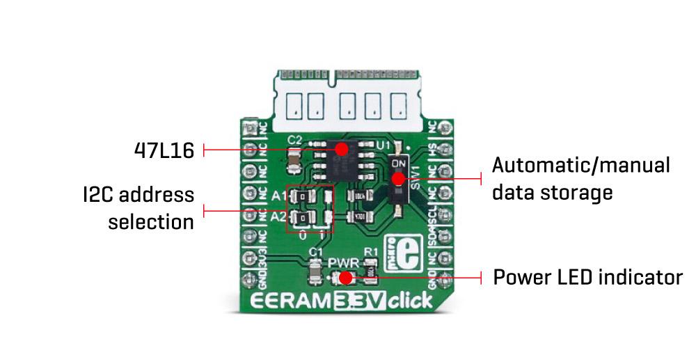 Détail du module MIKROE-2728 ERRAM 3.3V Click