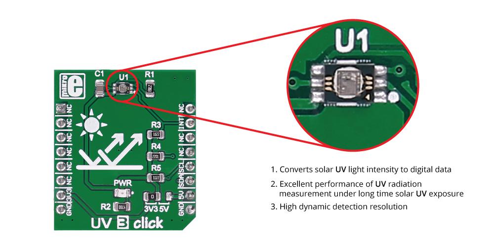 Détail du module UV3 Click MIKROE-2736
