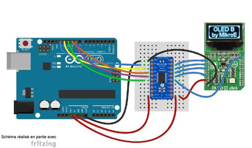 Schéma de câblage entre arduino et module Click Board
