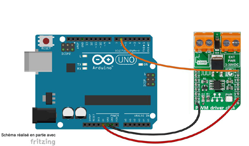 Schéma de câblage entre l'arduino et le module Click Board