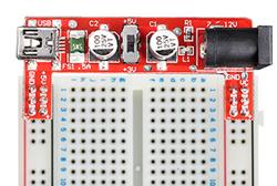 Exemple d'utilisation du module d'alimentation pour breadboard OPENME057