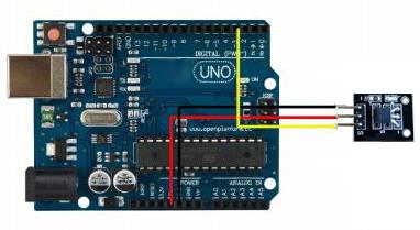 Exemple de raccordement de module capteur de température DS18B20 OPENSE042 sur un Arduino