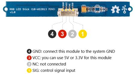 Face arrière du module Grove Stick 10 Leds RVB 104020131