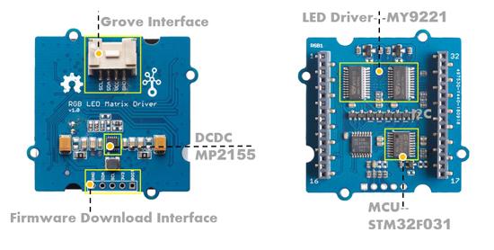 Détail du module Grove Matrice à Leds RVB 105020073