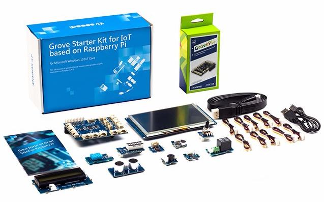 Les différents éléments dupack Grove IoT pour Raspberry Pi3
