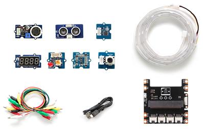 Détail du contenu du starter-kit Grove Inventor kit pour micro:bit