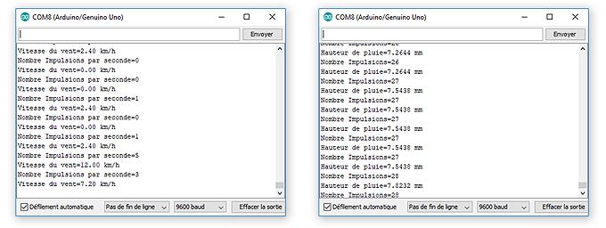 Récupération des données des capteurs dans le moniteur de l'Arduino