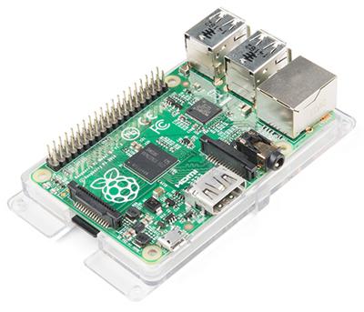 Platine Raspberry Pi 3B+ montée sur la plaque support PRT-15008