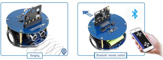Exemple d'utilisation de la plateforme Alphabot 2 Acce pour micro:bit