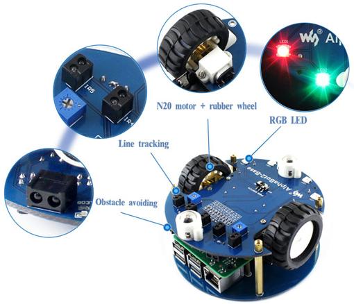 Détail des possibilités techniques de la plateforme Alphabot 2 pour Raspberry Pi 3B+