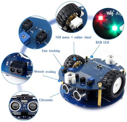 Détail des possibilités techniques de la plateforme Alphabot 2 Acce pour Raspberry Pi Zero