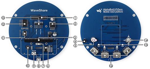 Détail de la platine Alphabot 2 Acce pour Raspberry Pi Zero