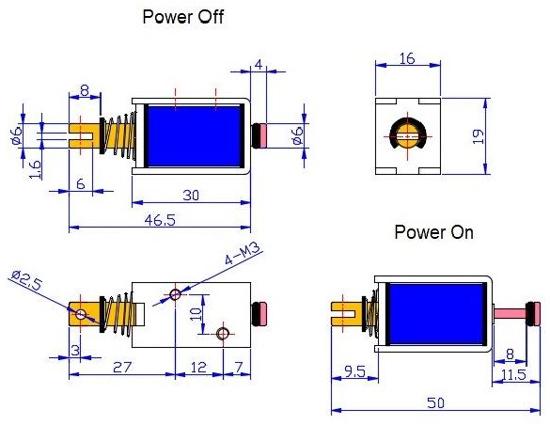 Dimensions du solénoïde électro-aimant 12V - 7,2 W