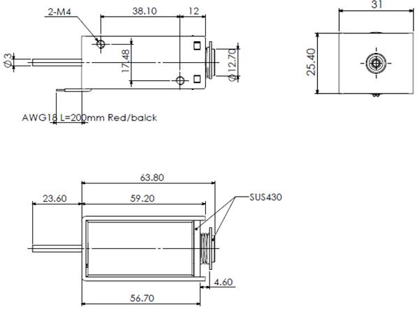 Dimensions du solénoïde électro-aimant 12V - 7,5W